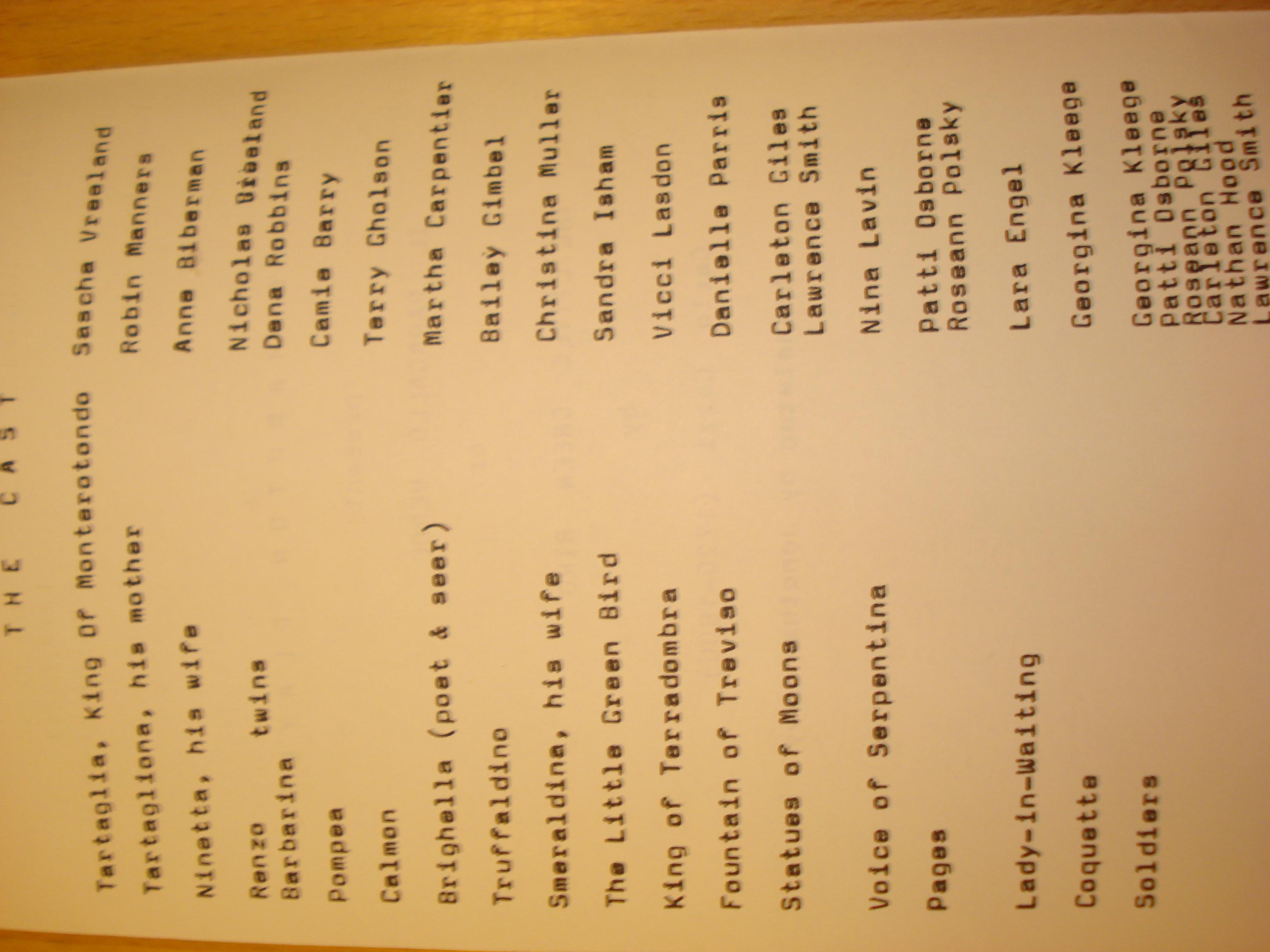 The Little Green Bird Cast List