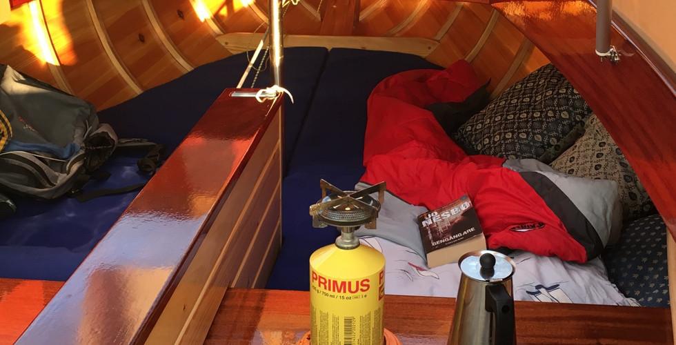 Matrasses beneath deck.