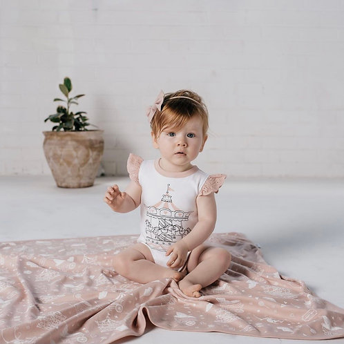 Carousel Print Lace Flutter Onsie