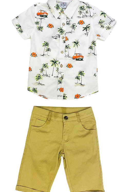 Conjunto Camisa Floral Infantil Menino
