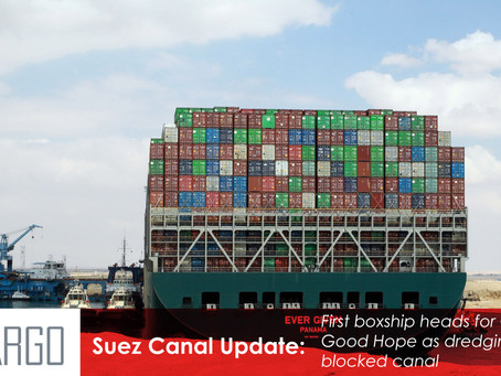 First boxship heads for Cape of Good Hope as dredging starts in blocked canal