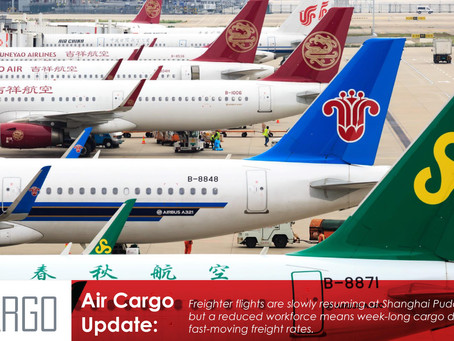 Freighter flights resuming at Shanghai, but reduced capacity pushes rates higher