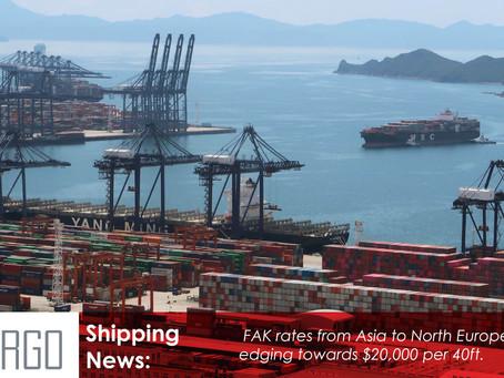 Asia-Europe spot rates head for $20,000 per feu as new China Covid crisis bites