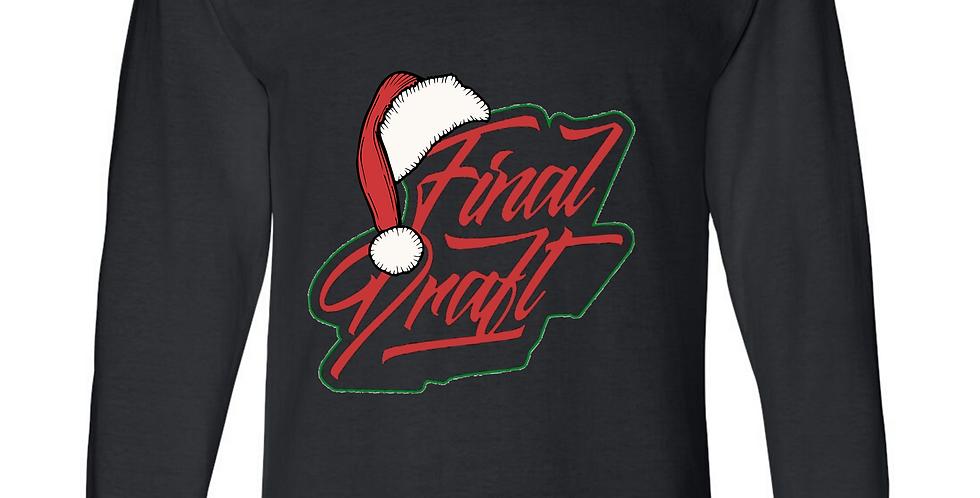 "Black Long Sleeve TeeShirt Final Draft ""Christmas Logo"""
