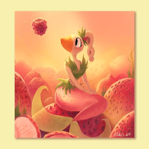 Stella Strawberry Mermaid Print