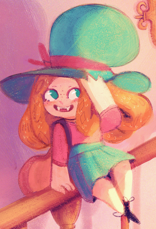 Close-up of Molly from the first spread