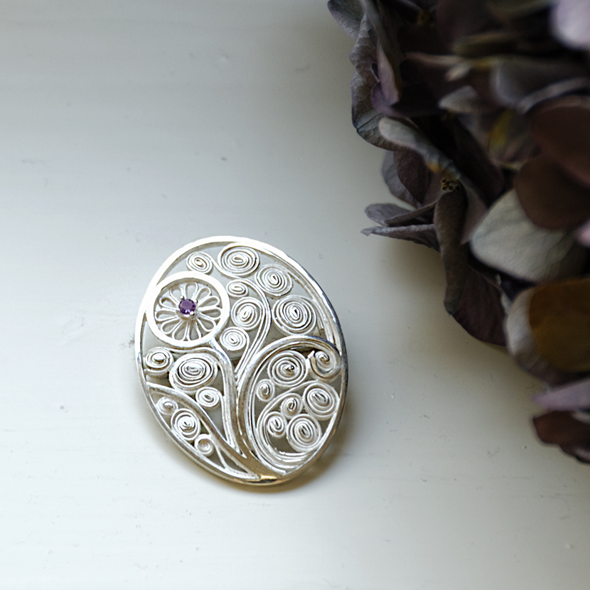 "Filigree brooch ""Flower"""