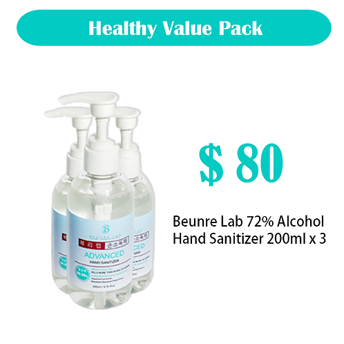 Beunre Lab 72% Alcohol Hand Sanitizer Value Pack 200ml x 3