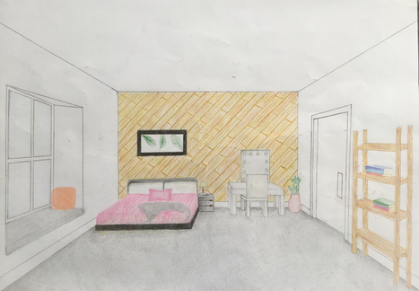 Final one-point perspective drawing rubr