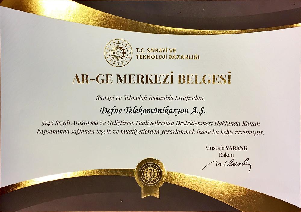 Defne Receives R&D Center Certificate