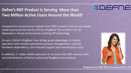 Defne's RBT Product is Serving  More than Two Million Active Users Around the World!
