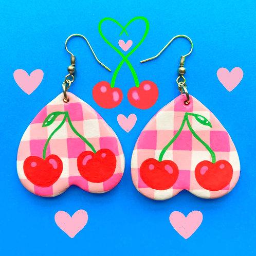 Pink Gingham Cherry Earrings