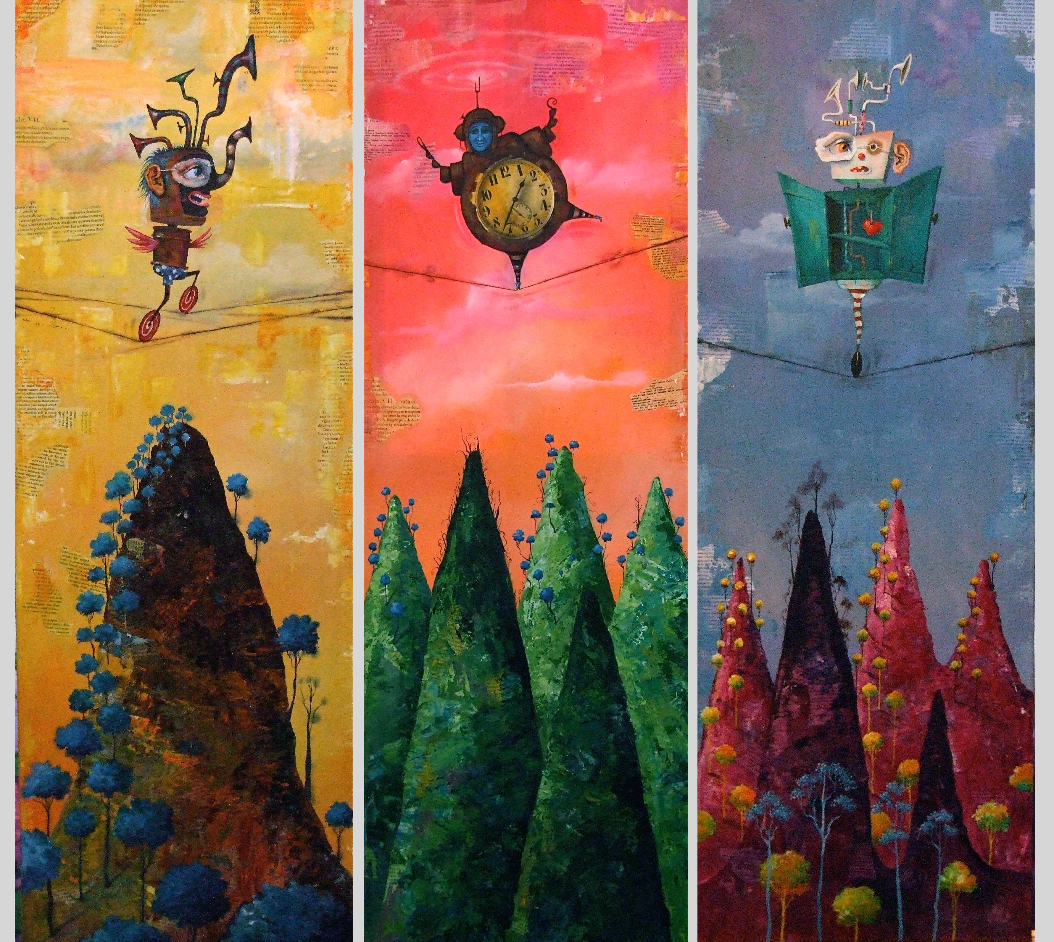paintings of tightrope figures