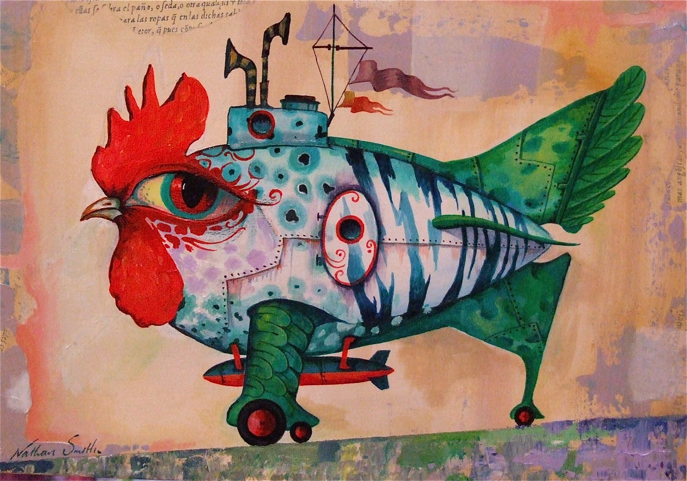 painting chicken submarine
