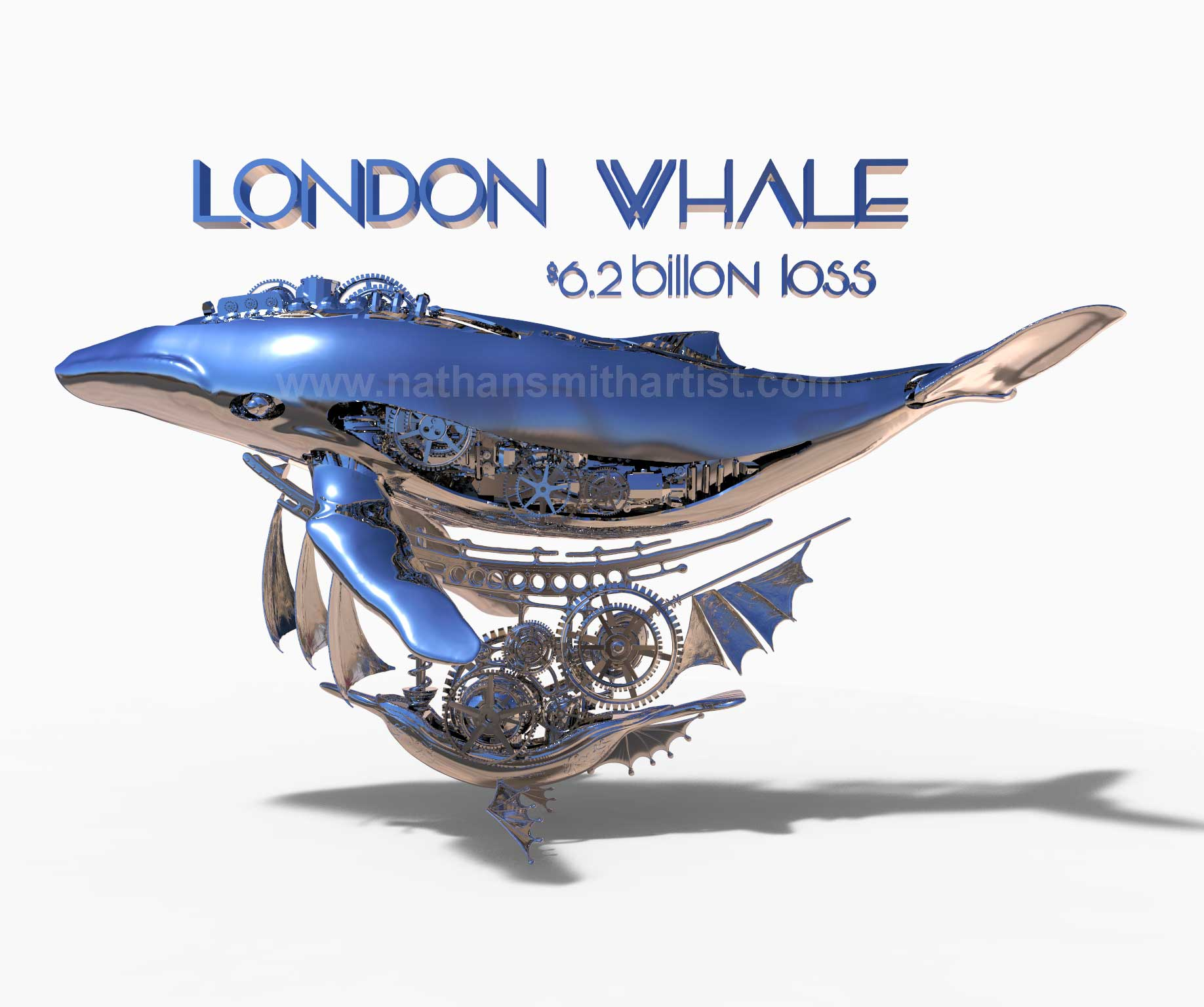 Whales,silver,steampunk