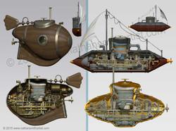 submarine 3d illustration