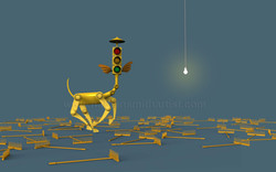 Rakes,traffic light, horse