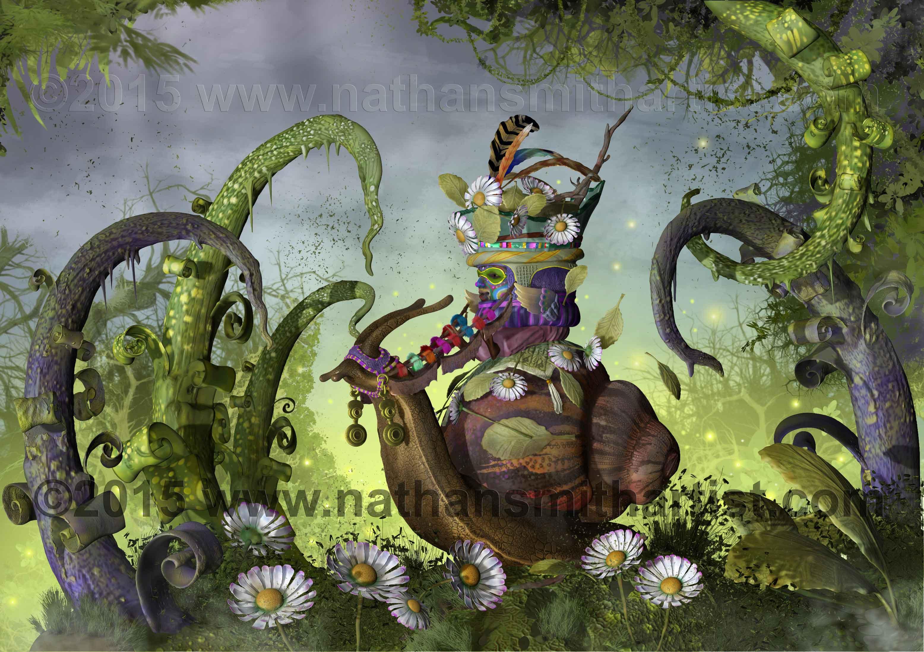 Snail,Daisies,Nathan Smith