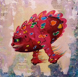 painting purple creature