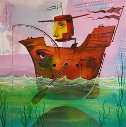 Painting fishing sea