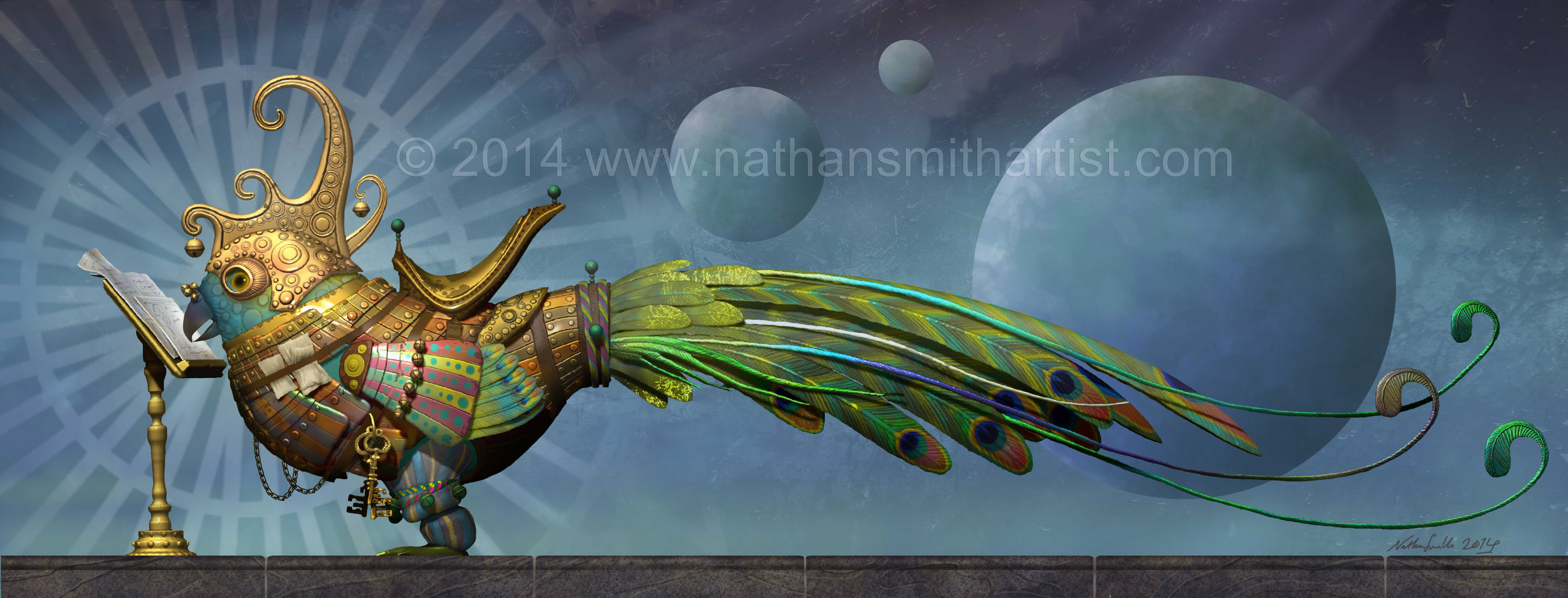 Peacock,Golden,Planets,Nathan Smith