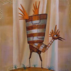 painting tin bird