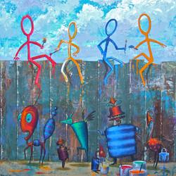 Painting stick men