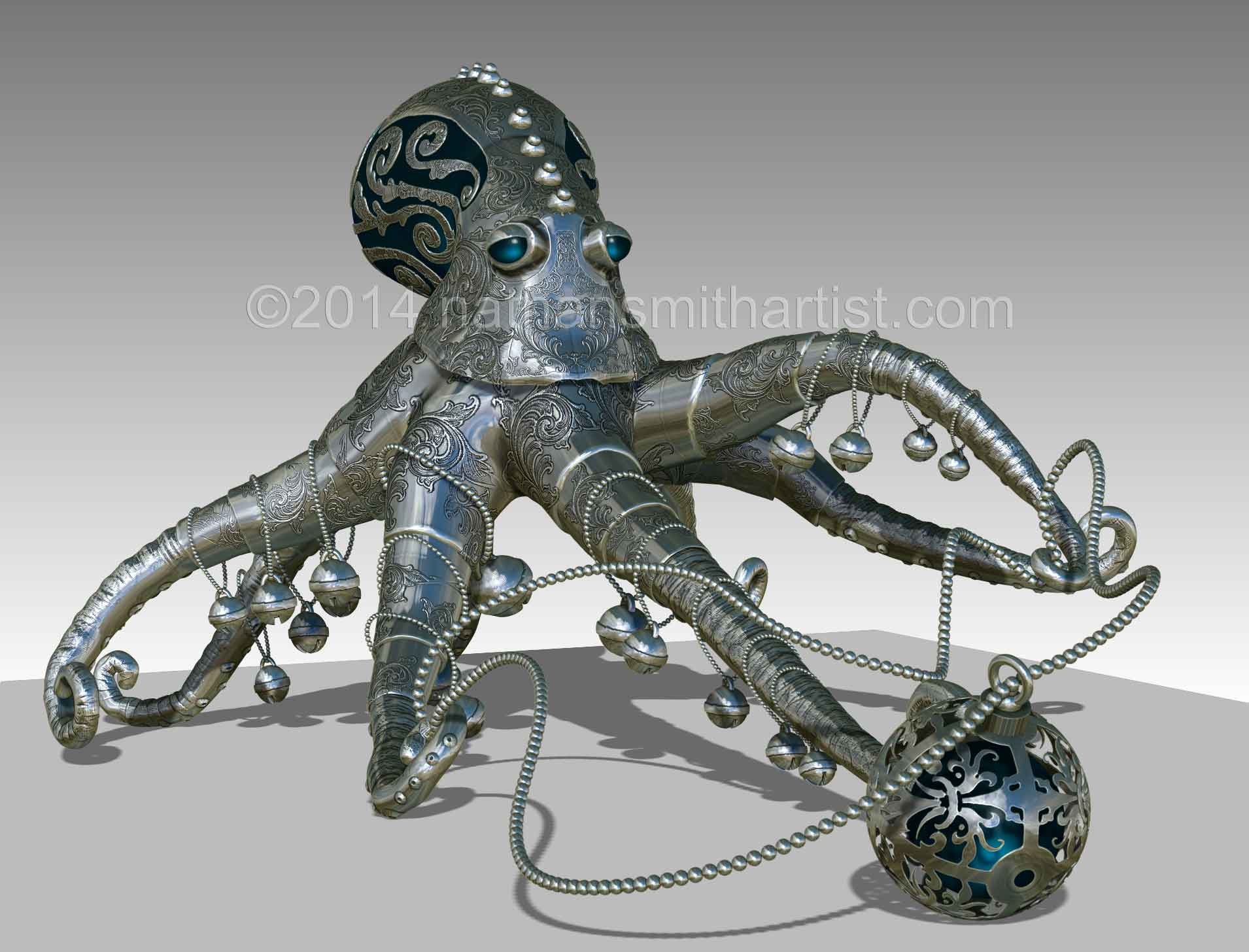 Decorative ,octopus ,Silver