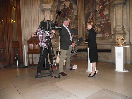 Victoria Claire being interviewed by Robin Gibson of the BBC