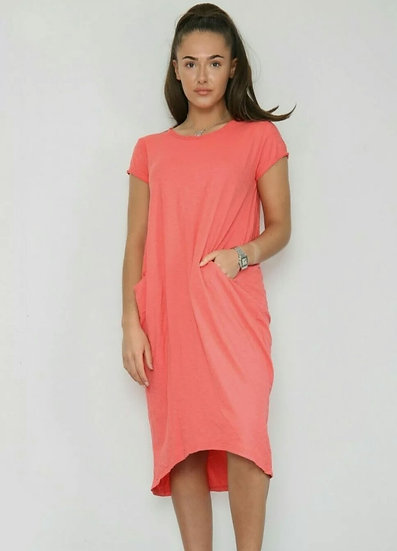 Front Pocket T shirt Dress -Coral