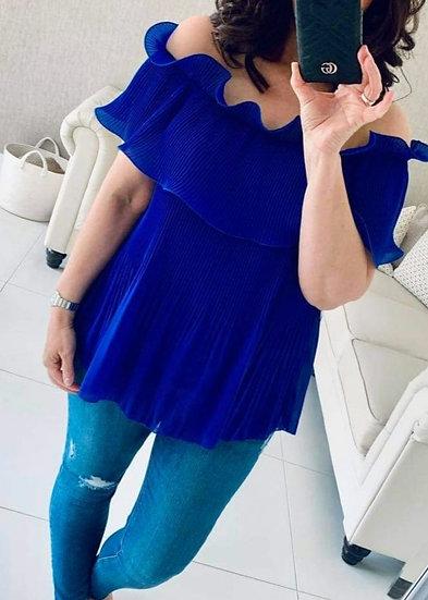 Italian bardot off the shoulder ruffle top -Cobalt Blue