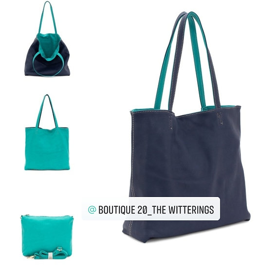 Large Reversible 2 in 1 Leather Tote Bag -Navy/Turqouise
