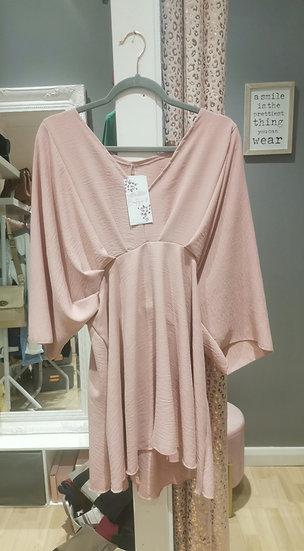 V Neck Tunic Top/Dress -Blush pink