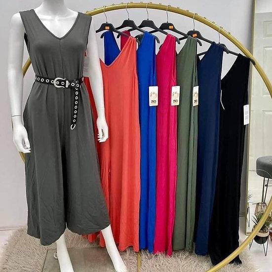 Slinky V Front Jumpsuit -Various colours