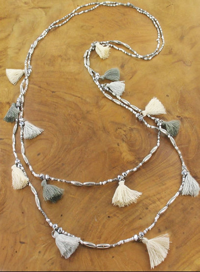 Tassel Boho Long Necklace -Cream & Grey