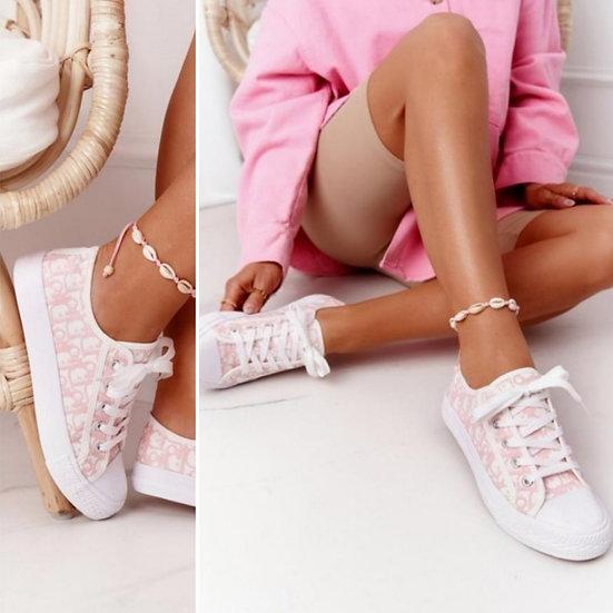 Designer Inspired Canvas Pumps -Pale Pink