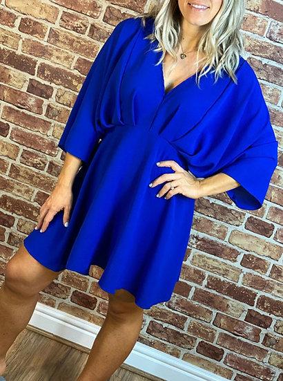 V Neck Tunic Top/Dress -Cobalt blue
