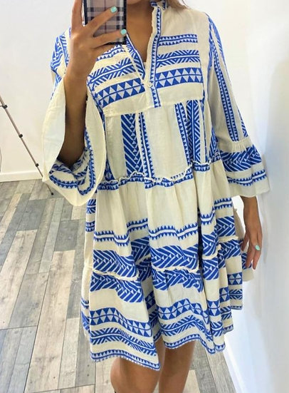 Luxury Aztec Smock Dress -Royal Blue