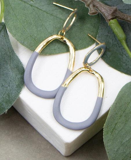 Matt enamel Drop Earrings -Grey/gold