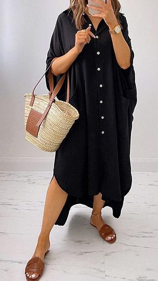 Oversized Shirt Dress -Black