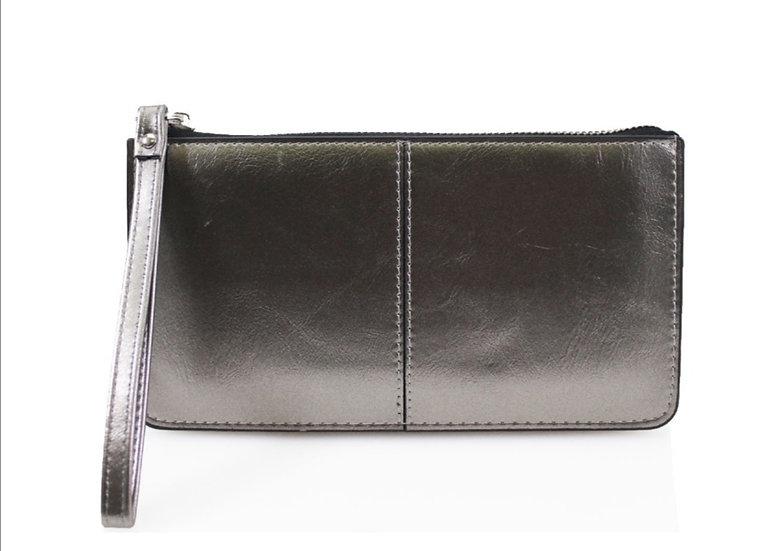 Wristlet Clutch Purse - Metallic Grey
