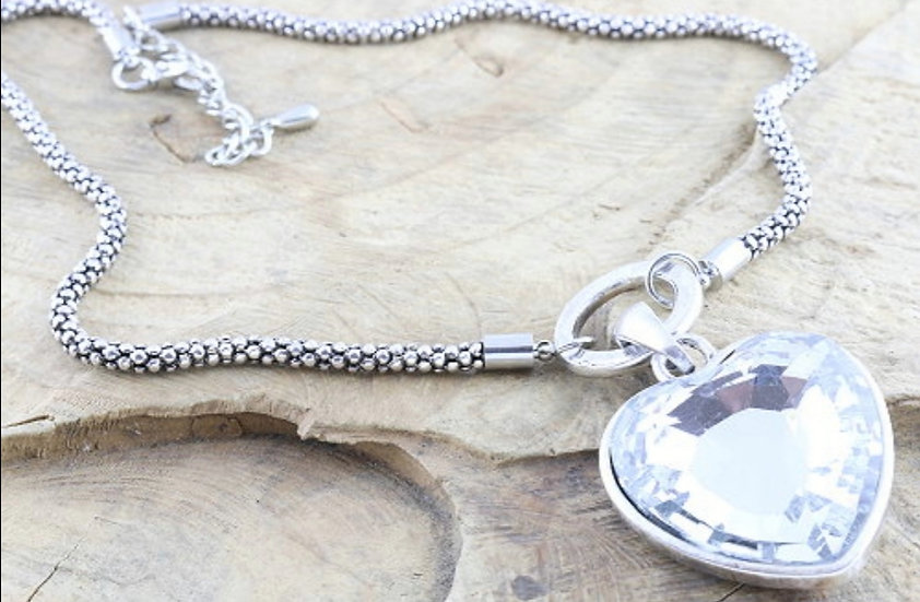 Chunky Crystal Heart Necklace
