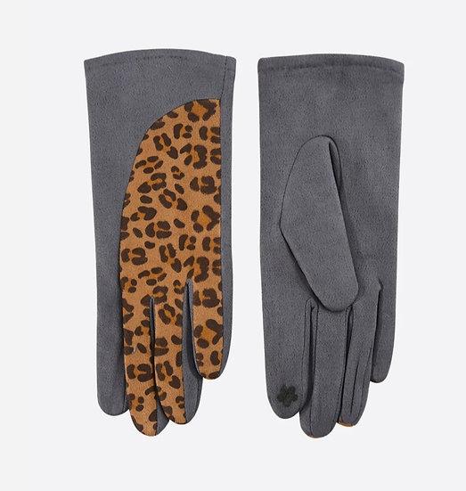 Leopard Print Detail Gloves -Dark grey