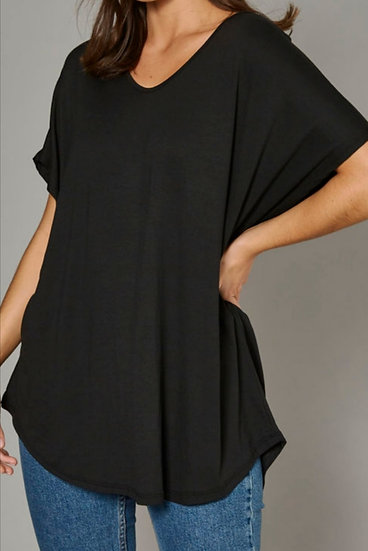 Short Sleeve Curve Cut Top -Black
