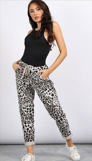 Italian Leopard Print Magic Pants -Beige