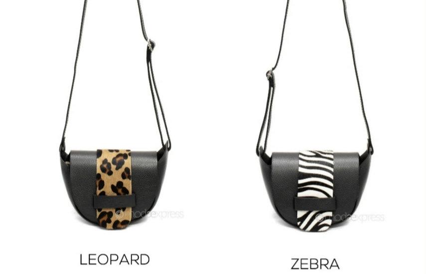 Leather Animal Print Half Moon Cross body Bags