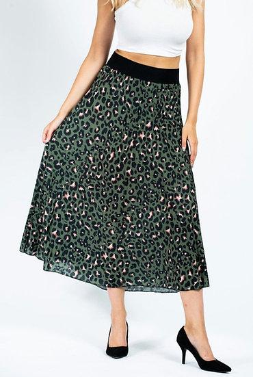 Leopard Print Pleated Maxi Skirt - Khaki