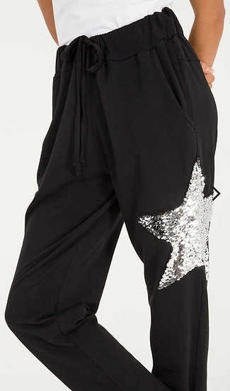 Sequin Star Joggers -Black
