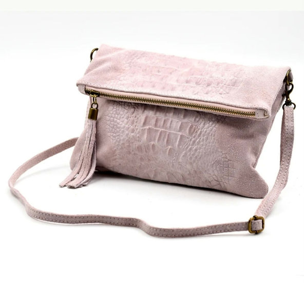 Made in Italy suede leather croc skin clutch bag -Baby Pink