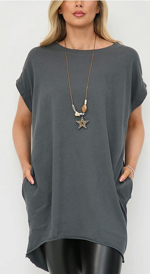 Oversized Tee with Star Necklace -Charcoal